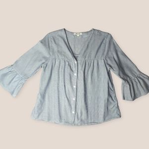 Madewell White Blue Pinstripe ButtonUp XSmall